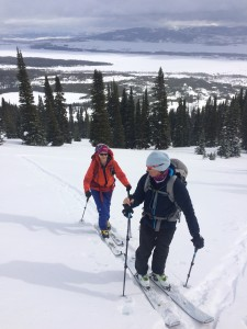 Nancy Emerick and Mary White happily testing out the Kode 32 and Kresta 30 on their way to ski 25 Short, a classic Teton summit ski tour of almost 4,000 vertical feet