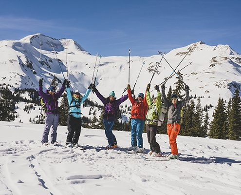 intro to backcountry skiing and riding hut clinic participants