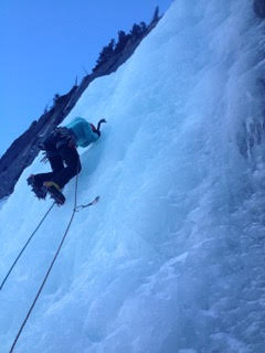Ice climbing footwork