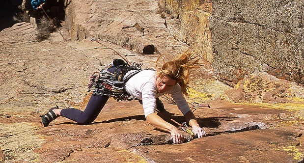 Carolyn Parker climbing in the Sandia Mountains