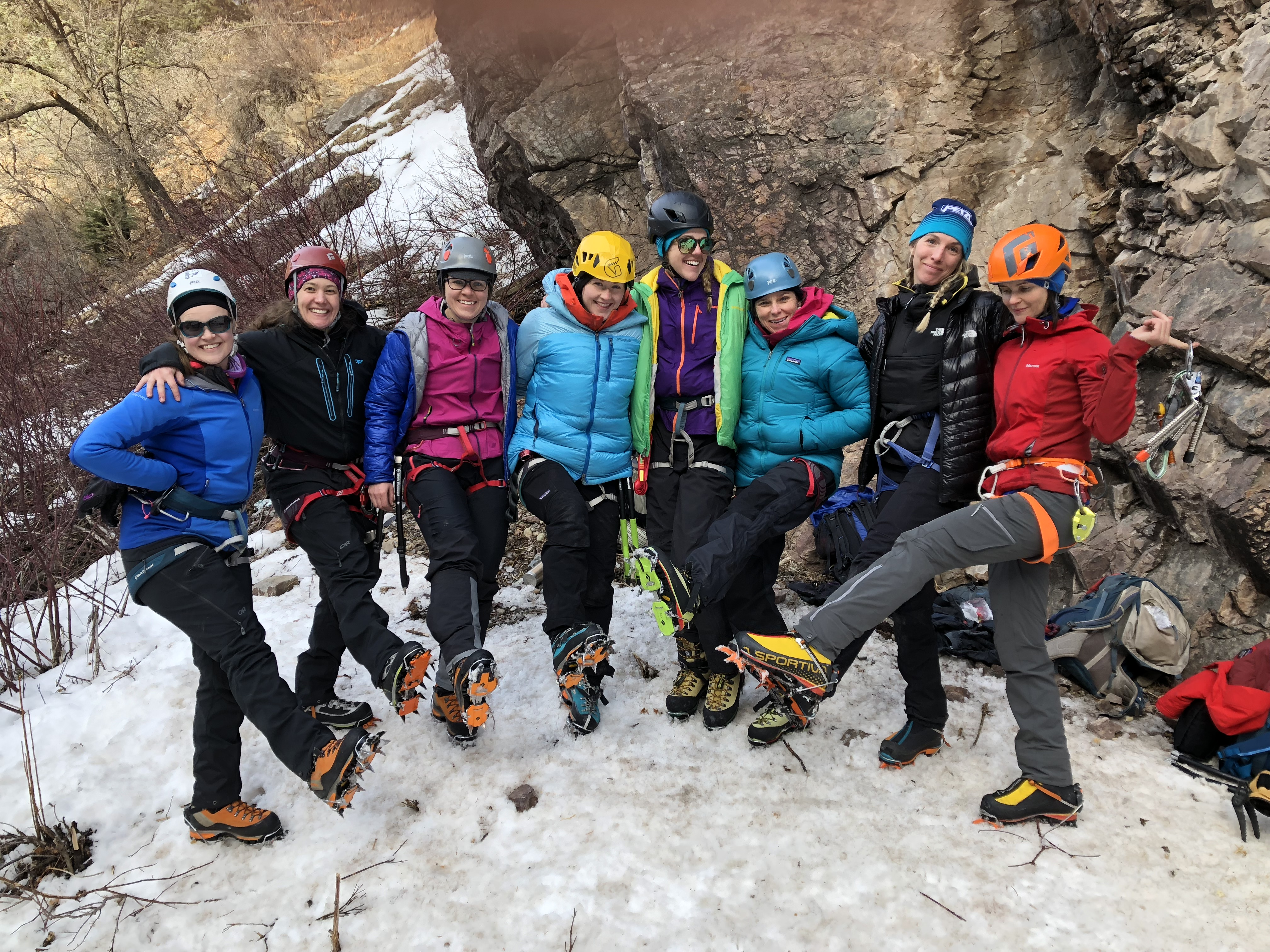 Doing the Crampon Dance. Kelly Clarke, third from left, won the 2017 Subaru Adventure Team Women's Ice Climbing Scholarship @Elaina Arenz