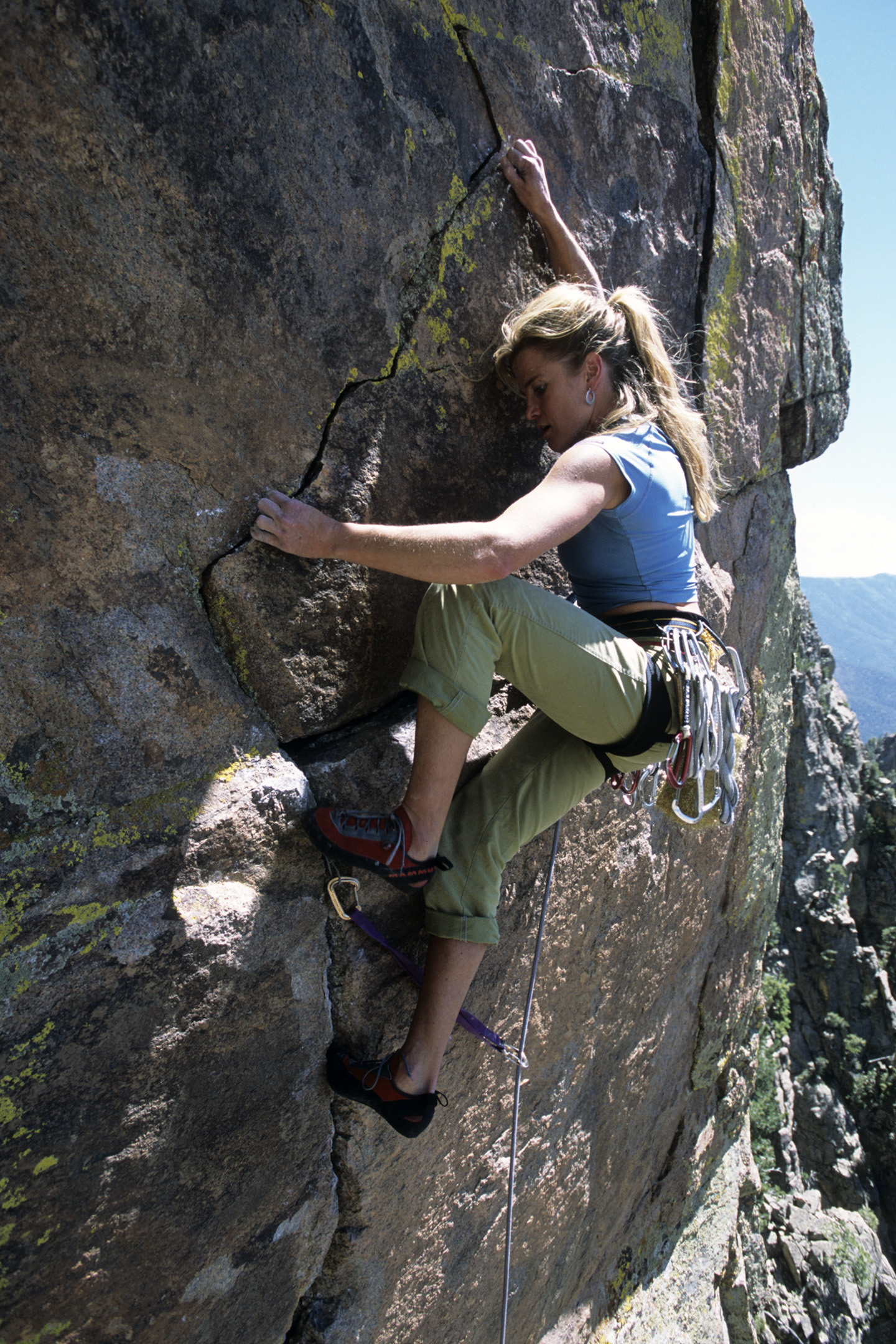 Carolyn Parker climbing the Great Escape, Sandias, New Mexico.