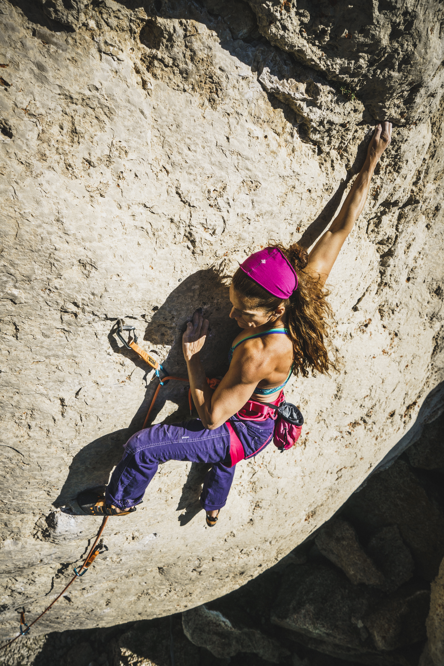 Crusher Alli Rainey works Last Man Standing, 5.13a, Wild Iris, Wyoming © Louis Arvevalo