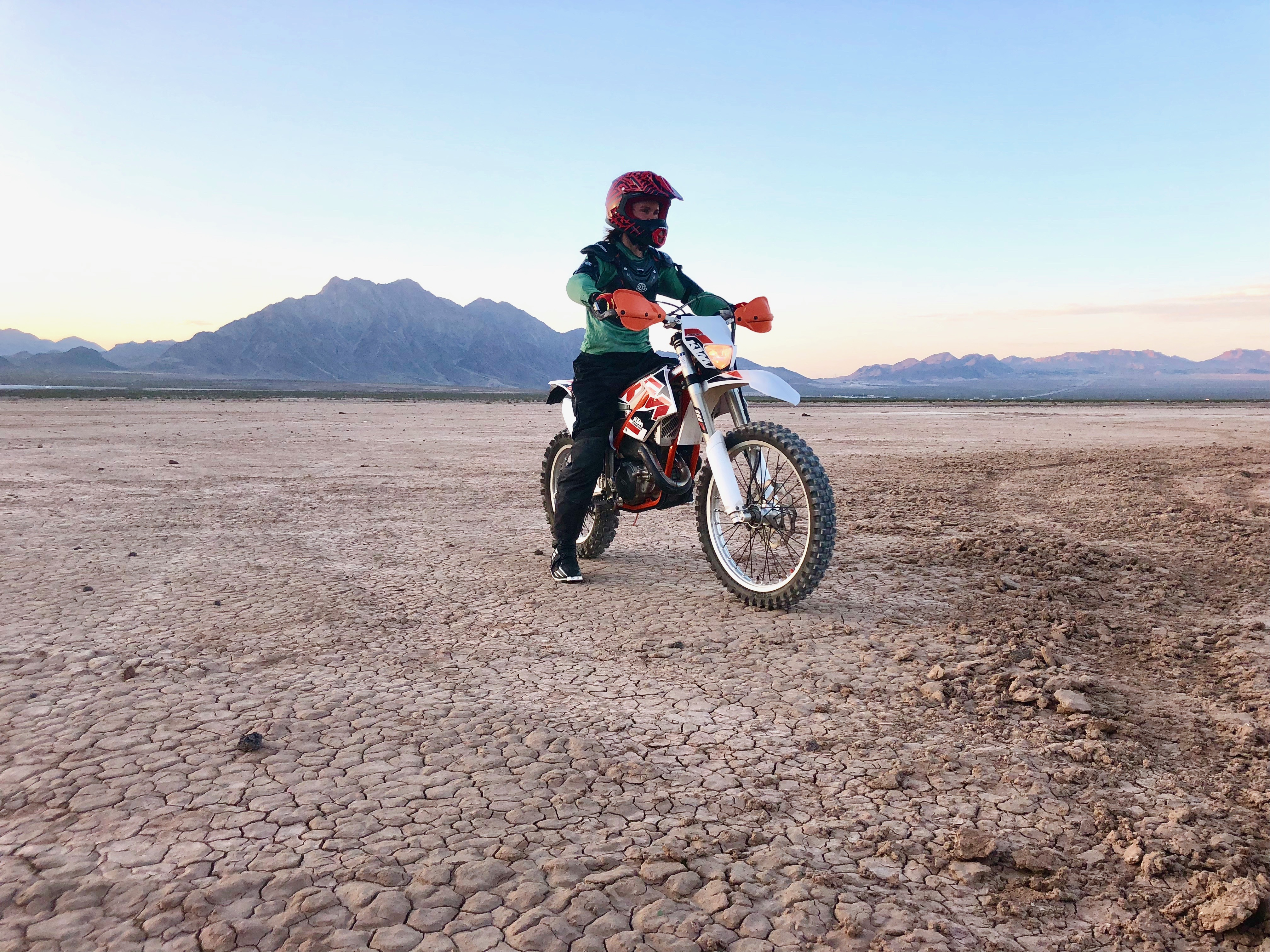 Elaina Arenz, Co-Owner Chicks Climbing & Skiing, pushing her limits on her brand newdirt bike.©Arenz collection