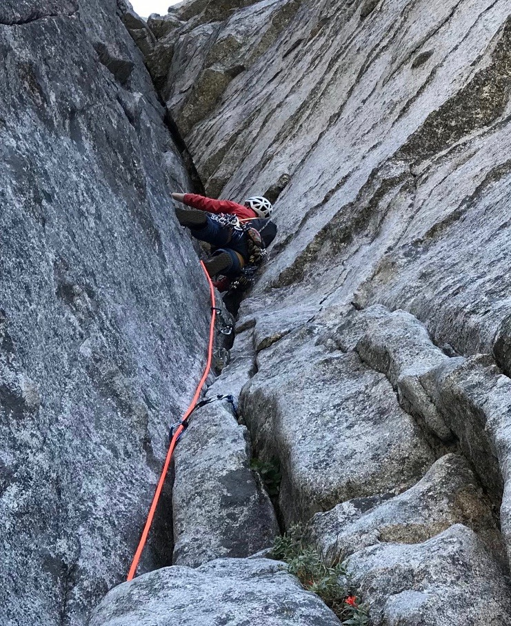 There's nothing better than a rope that invokes a legendary race of female warriors when you're going for it. Karen Bockel on the ultra-classic Corrugation Corner (5.7) Lover's Leap, CA. ©Angela Hawse