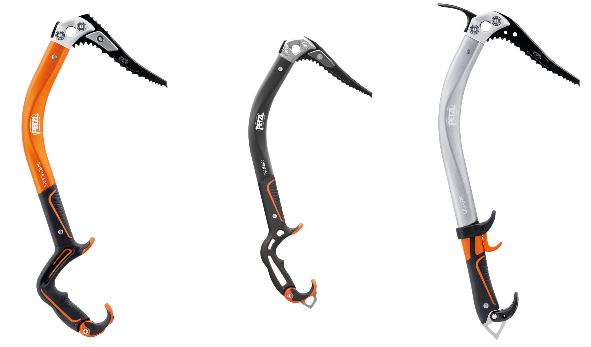 Petzl's Ergonomic, Nomic and Quark ice climbing tools. ©Petzl stock photo