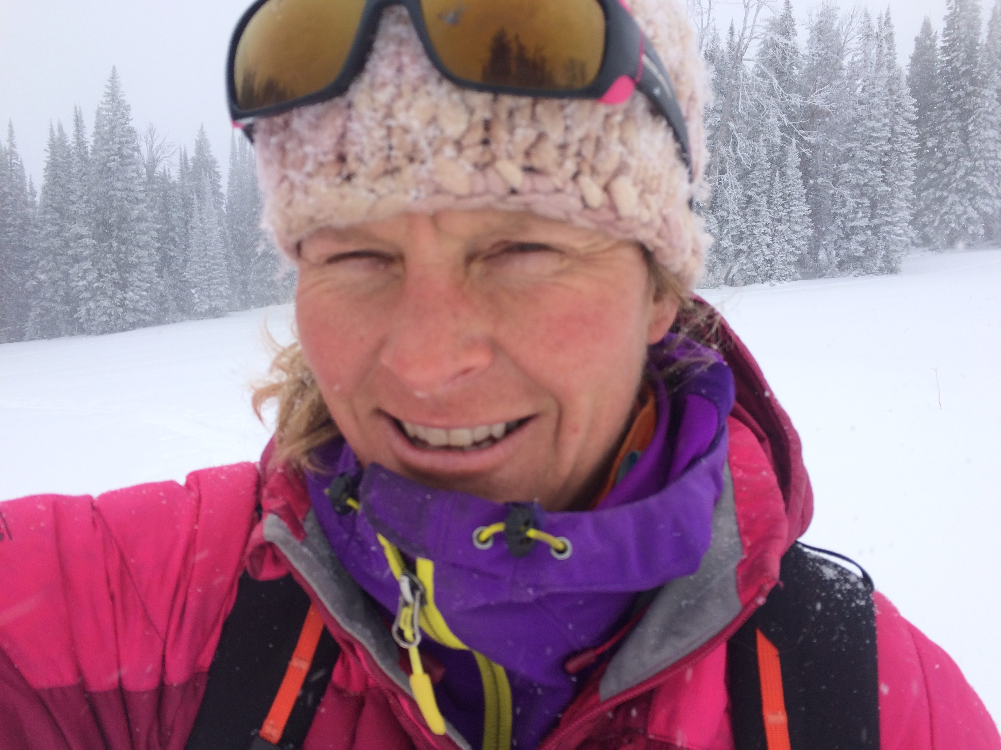Hello, Snow!, Karen Bockel, Chicks Climbing and Skiing co-owner, IFMGA Mountain Guide, selfie in a snowstorm ©Karen Bockel