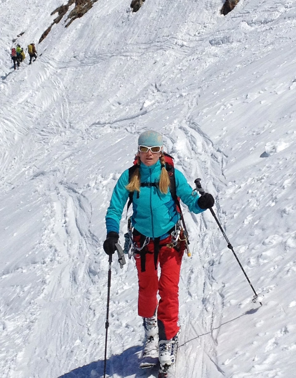 Carolyn Parker, founder Ripple Effect Training, working her ski legs on the way to the Grands Mulets Hut, Mont Blanc Massif, French Alps. ©Robbie Klimek