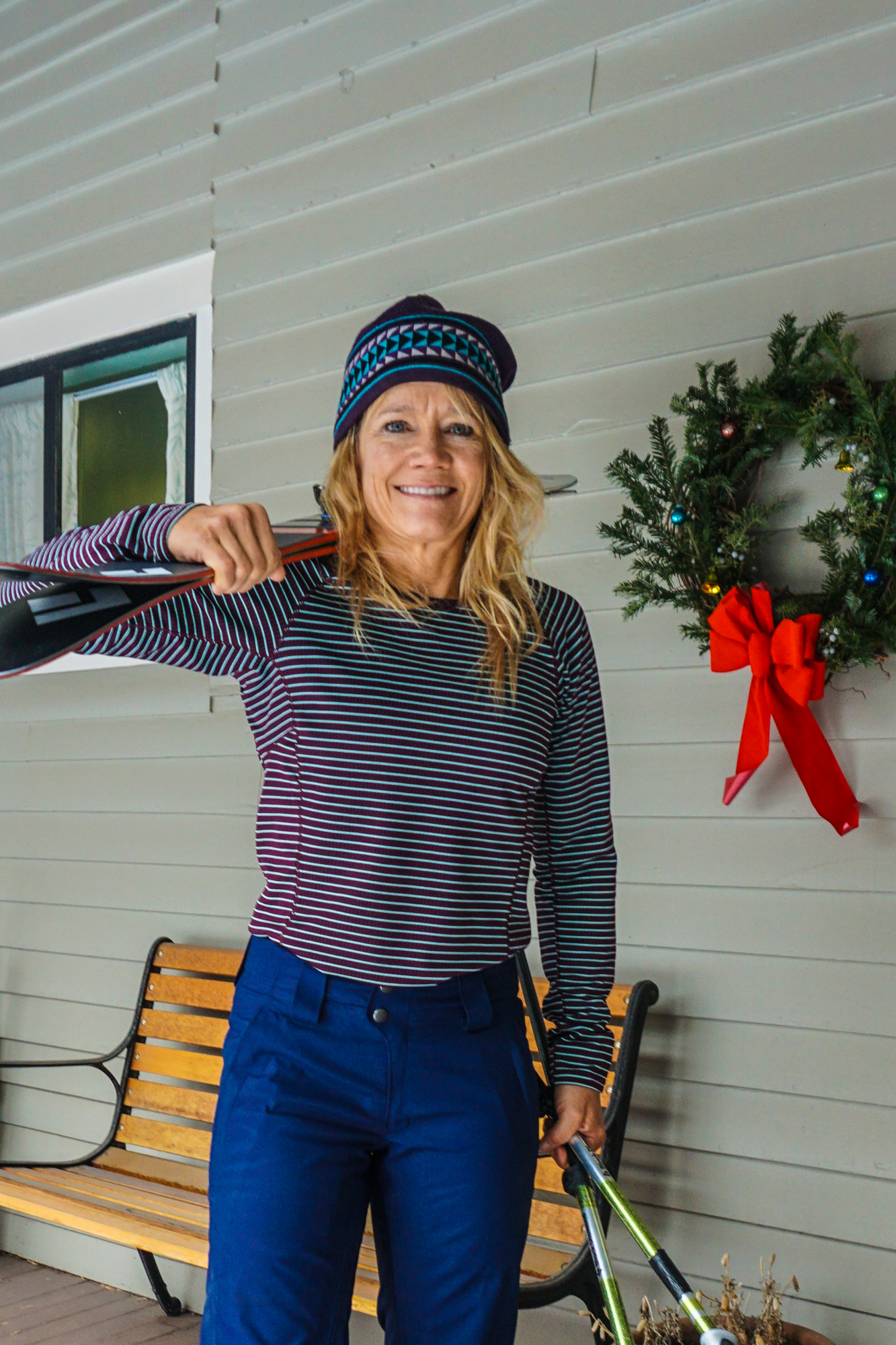 Kitty Calhoun shows of her new retro-stripe Patagonia Capilene Midweight Crew