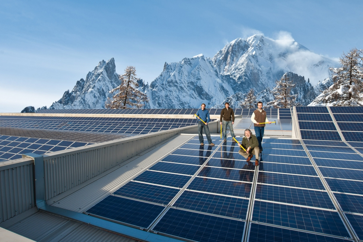 The Grivel factory solar-panel-clad roof in the Italian Alps. Using the sun to power climbing.©Grivel
