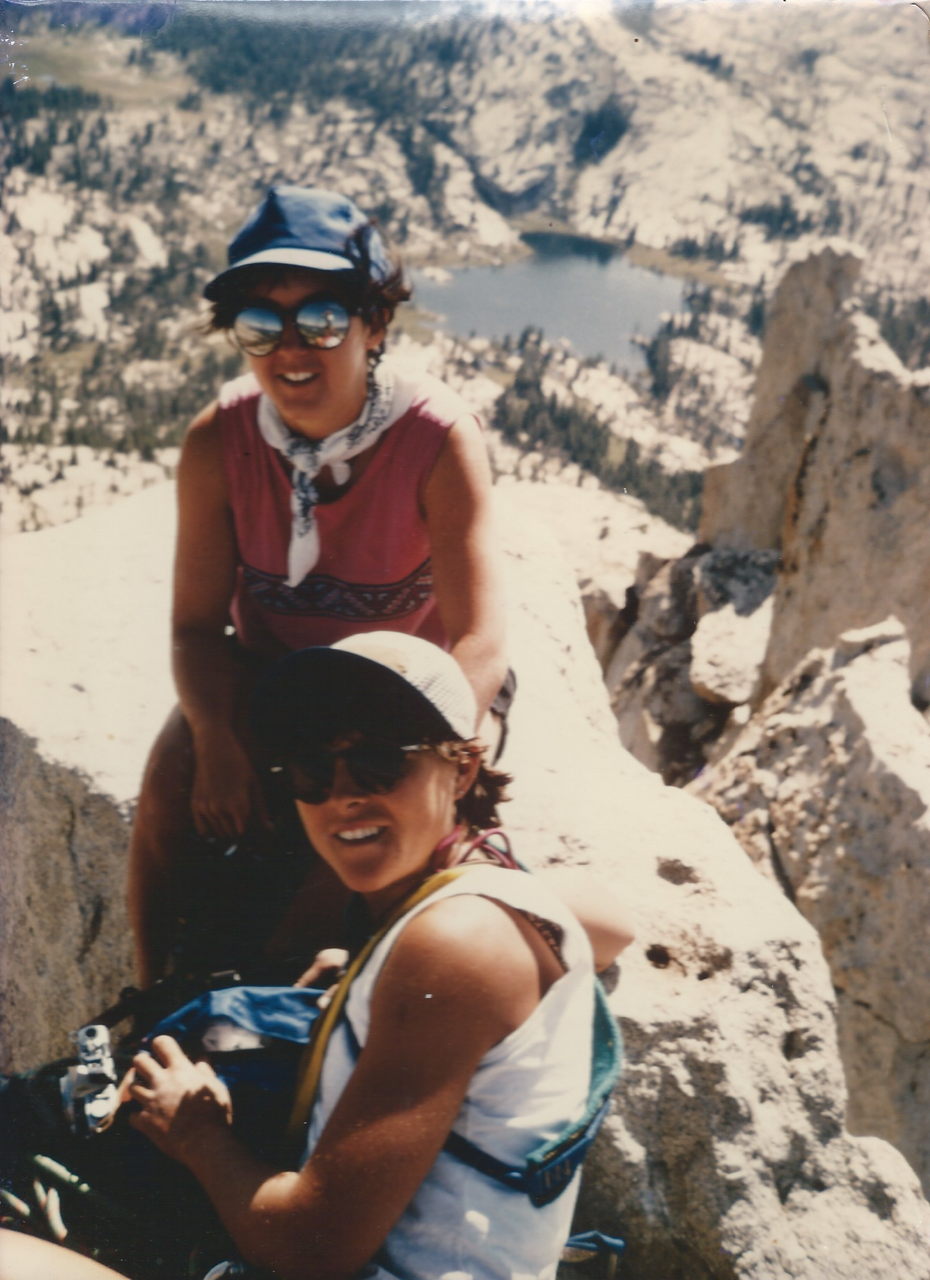 Angela Hawse, co-owner Chicks Climbing and Skiing, building muscle memories on Cathedral Peak, Tuolumne CA 1986