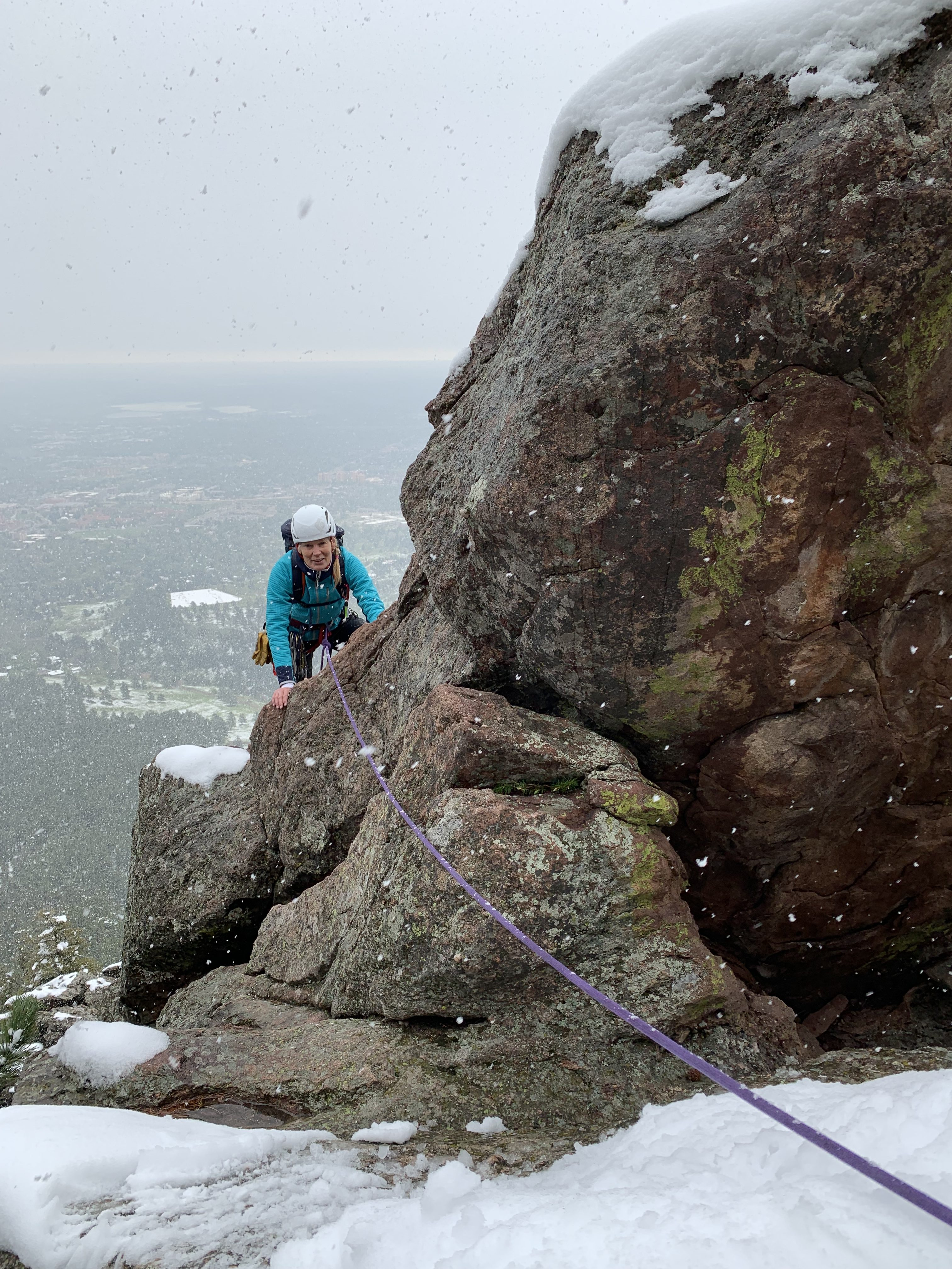 The Fusion Nano IX dual color in action. Chicks alumna, Kristy Lamore, 2nd Flatiron, Boulder, Colorado. May snowstrom. ©Karen Bockel